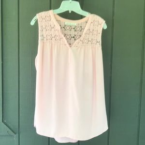 Adorable crocheted detailed pink sleeveless top.